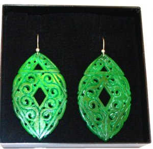 Silver Earrings gold-colored-green real silver