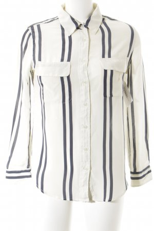 Jadicted Langarm-Bluse hellbeige-dunkelblau Streifenmuster Business-Look
