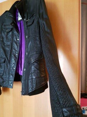 Jaeger & Evans # schwarze Lederjacke mit raffinierten Details# D 38/D40