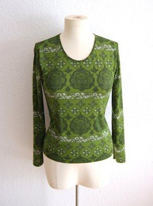 Jägergrünes Sweatshirt barock, ornamentales Shirt vintage, preppy festival grunge