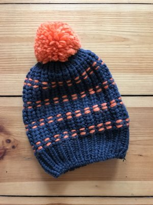 Crochet Cap anthracite-neon orange cotton