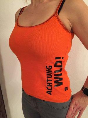 Jägermeister Top in orange Größe S mit tollem Glitzer-Logo am Rücken