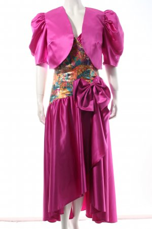 Jahn & Pill Abendkleid violett-goldfarben abstraktes Muster Eleganz-Look
