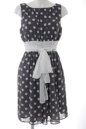 Jake*s A-Linien Kleid grau-weiß Punktemuster Elegant