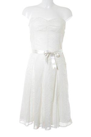 Jake*s A-Linien Kleid weiß-hellgelb Punktemuster Retro-Look
