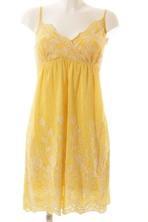 Jake*s Babydollkleid gelb-weiß florales Muster Beach-Look