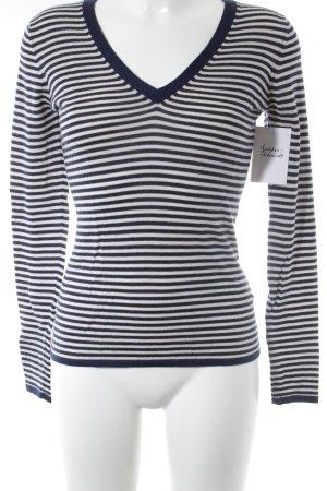 Jake*s Cashmerepullover weiß-dunkelblau Streifenmuster Street-Fashion-Look