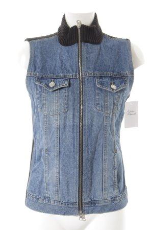 Jake*s Gilet en jean bleu acier-noir Aspect de combinaison de matériaux