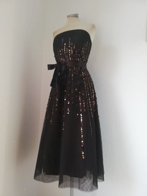 Jake`s Kleid trägerlos Bandeaukleid braun Tüll Pailletten Gr. 34 XS Midikleid