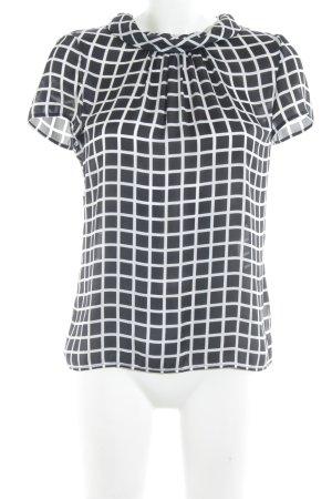 Jake*s Kurzarm-Bluse schwarz-weiß Karomuster Brit-Look