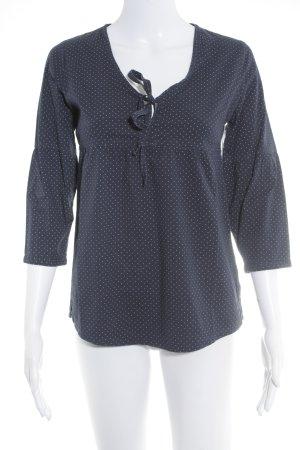 Jake*s Langarm-Bluse dunkelblau-weiß Punktemuster Casual-Look