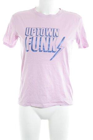 Jake*s T-Shirt blasslila-blau Schriftzug gedruckt Casual-Look