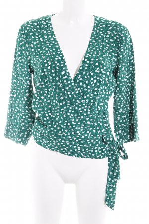 Jake*s Wraparound Blouse forest green-white floral pattern casual look