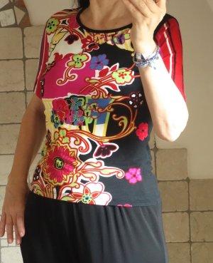 Jalu by St. T-Shirt, 95% Viskose, 5% Elasthane, bunt gemustert + schwarz, pink, rot, gelb, grün, …, tailliert, Hippie Phantasie Muster, Blumen, geometrisch, weiche Qualität Gr. 38