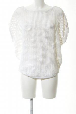 James Perse Camisa de ganchillo blanco punto trenzado look casual