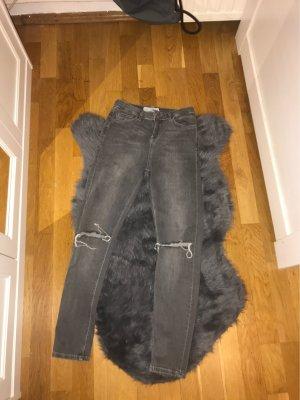 Topshop Hoge taille broek grijs-donkergrijs