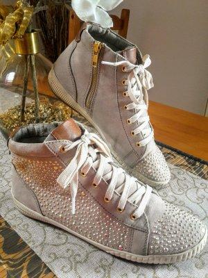 Jana Leder Sneaker hellbeige, Gr.40 Roségold farbenen Nuggets