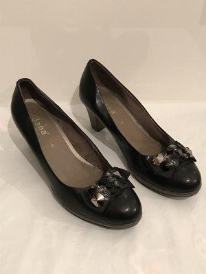 Jana Pumps Gr.40 schwarz Glitzerschnalle Schuhe Weite G
