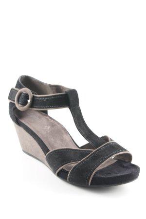 Jana Wedges Sandaletten schwarz-graubraun Casual-Look