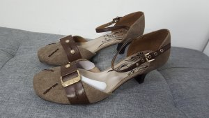 Jane Klain Tacones de tiras ocre-marrón-negro