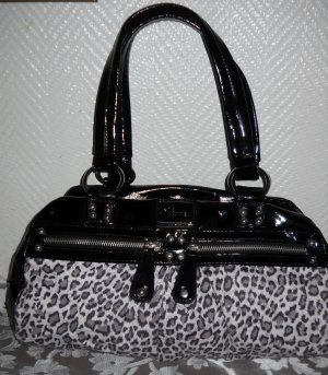 JANE NORMAN Henkel Tasche Shopper Bag Leo Leopard Fell Imitat Animal Print Lack