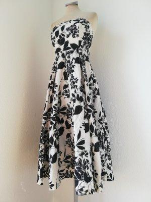 Jane Norman Kleid knielang Baumwolle Lolita schwarz weiß Gr. UK 10 EUR 36 S