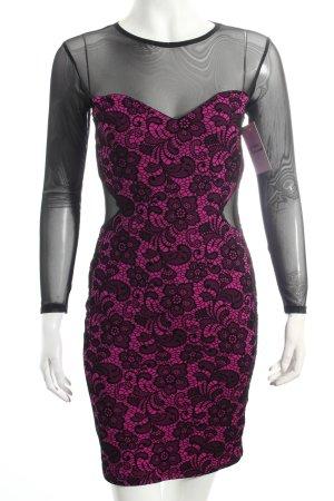 Jane norman Kleid schwarz-pink florales Muster Samtbandverzierung