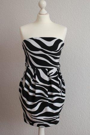 Jane Norman Mini-Kleid Zebra Kleidchen schwarz-weiß trägerlos Stretch S 36