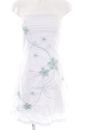 Jane norman schulterfreies Kleid wollweiß-kornblumenblau florales Muster