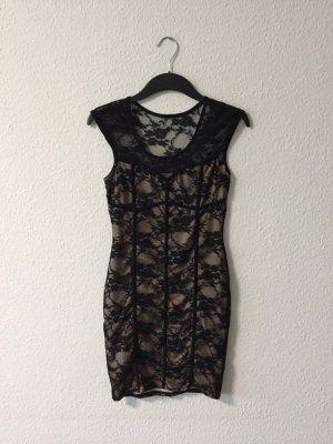 Jane Norman Spitzen-Minikleid schwarz/creme 36