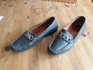 Janet D Moccasins dark blue leather