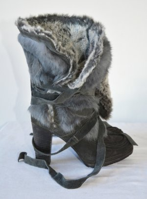 Janet & Janet Fur Rabbit Boots Stiefel mit Fell Gr. 38 Wildleder