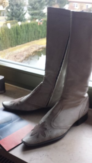 Janet & Janet Western Boots light grey leather