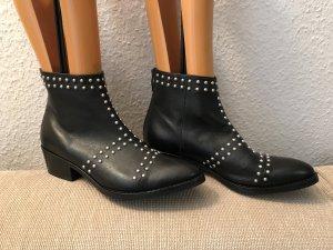 Janet & Janet Stiefeletten 41 schwarz mit Nieten Boots Stiefel Schuhe