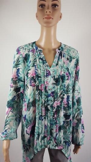 Janina Damen Chiffonbluse Tunikabluse floraler Print Strass Größe 40 NEU