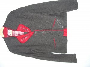Folkloristische jas lichtrood-bruin Wol