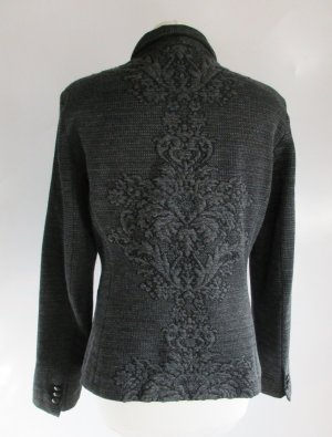 Jaquard Blazer Jacke Expresso Größe M 40 Dunkelgrau Grau Schwarz Brokat Ornamente Meliert Historisch
