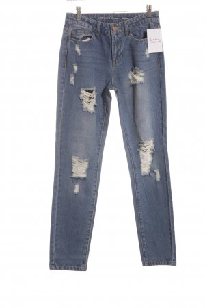 Jaqueline de Yong Boyfriendjeans kornblumenblau Street-Fashion-Look