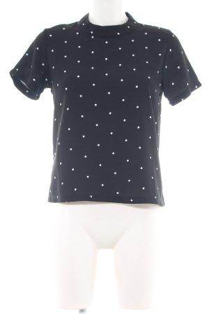 Jaqueline de Yong Kurzarm-Bluse schwarz-weiß Punktemuster Casual-Look