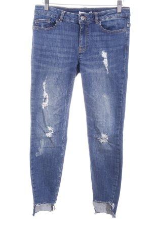 Jaqueline de Yong Skinny Jeans dunkelblau Destroy-Optik