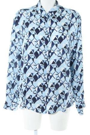 Jaques Britt Langarm-Bluse blau Allover-Druck Business-Look