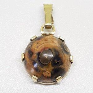Jaspis Silberanhänger 935 silber gold vergoldet Edelstein Cabochon rund Mexico Vintage