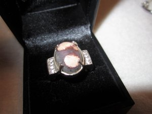 Silver Ring rose-gold-coloured-brown red