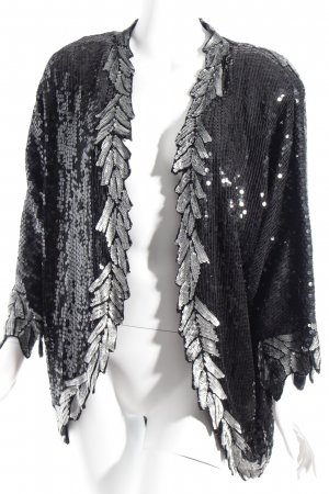 JB Fashion Long-Blazer schwarz-silberfarben abstraktes Muster extravaganter Stil