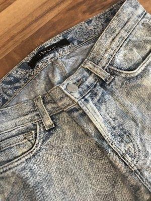 JBRAND Jeans cigarette blanc-bleu azur