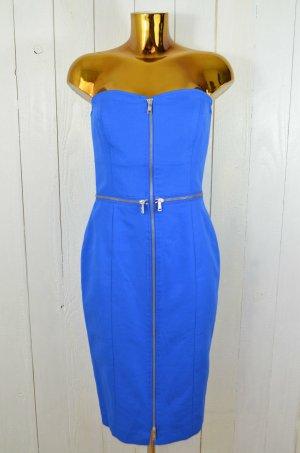 JC de CASTELBAJAC Damen Kleid Cocktailkleid Bustierkleid Blau RV Piquee Gr.44/40