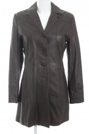 JCC Leather Coat dark brown classic style