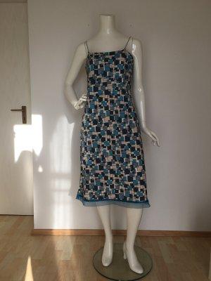 Jdy jacqueline de Young large Kleid dress slip  schlüpfkleid bequem blau Türkis Creme Vierecke geometrisch gemustert Schlitz Träger Spaghetti