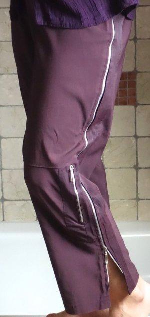 7/8 Length Trousers grey lilac-purple viscose