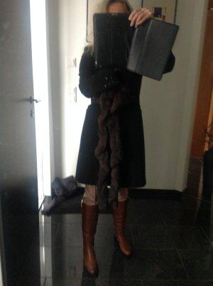 Jean Paul Berlin dunkel braun Mantel mit Echtfell Kragen Schal zum abnehmen und Nieten 36 passt aber auch 38 M super edel